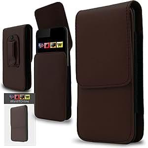 IWIO Sony Xperia M PU de cuero vertical otra cara cubierta de la caja de la bolsa con lazo para cinturón - Marrón