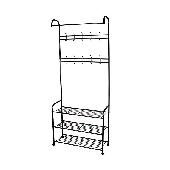 LENTIA Entryway Coat Rack Hall Tree Shoe Bench 3 in 1 Design Metal Storage Rack with Bag Coat Hat Umbrella Shoe Rack Fits Your Hallway entryway Bedroom and Dressing Room Easy Assembly (Gem Black) - Sturdy and Durable Structure: LENTIA multifunctional hanging clothes racks is made up of high quality and rust-resistant metal, which is really durable. No worry about tipping over. 3-IN-1 Designed: Perfectly combined with coat rack、storage shelf and shoes bench for your daily storage needs. The top rod provides space to hang your clothes, and the 2 extra shelves can be used to store your shoes, handbags, boxes or more accessories, which would save much space for your home and keep the entryway neat and tidy. Modern Style: Simple and elegant design make a relaxed and comfortable aesthetic, absolutely suitable for your hallway, front door, living room, bedroom and dressing room. - hall-trees, entryway-furniture-decor, entryway-laundry-room - 41QPRQvocuL. SS570  -