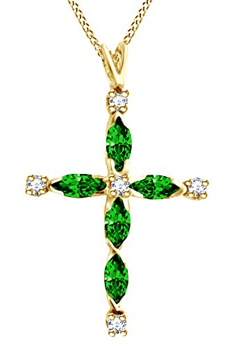 AFFY Marquise Cut Simulated Emerald White Diamond Cross Pendant Necklace in 10K Solid Yellow Gold ()