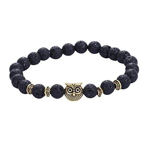 YIWULA Volcanic Bracelet Owl Bracelet Gold Bracelet Lava Stone Bead Bracelets (Black)