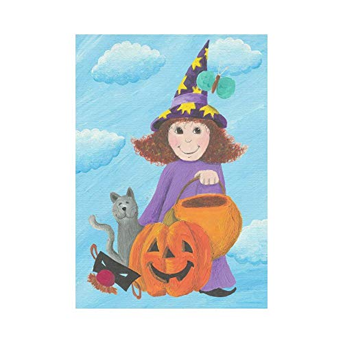 Pingshoes Halloween Magic Witch Girl with Pumpkin and Cat Polyester Garden Flag Outdoor Banner 28 x 40 inch, Blue Sky White Clouds Decorative Large House Flags for Party Yard Home Decor]()