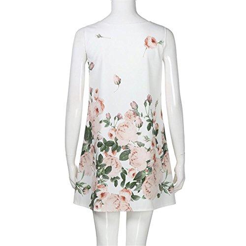 Kesee Cru Robe Fleurie Plage Maxi Boho Casual Lâche T-shirt Robe Blanche 1