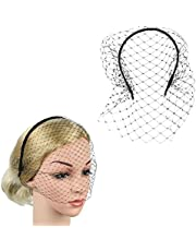 Lurrose Headband with Black Veil Hair Hoop Headband Simple Elegant Mesh Headdress for Woman Girl (Black)