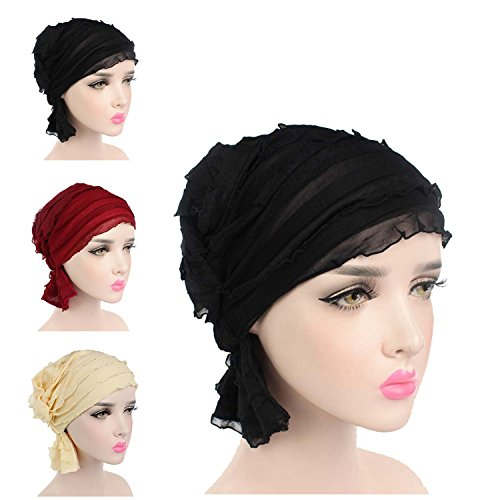 Ever Fairy 3 Colors Pack Chemo Cancer Head Scarf Hat Cap Ethnic Cloth Print Turban Headwear Women Womens Ruffle Beanie Scarf
