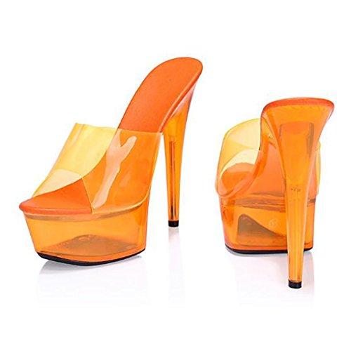Con Altos 15cm Flip Impermeable Fluorescentes Para Salón De Trabajo Fina Zapatos Tacones Lugar Plataforma flop Green Mujer Sandalias qazwHngv
