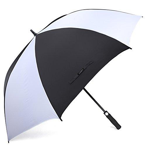 G4Free 62 Inch Automatic Open Large Golf Umbrella Windproof Sun Protection Oversize Waterproof Stick Umbrellas(Black/White) ()
