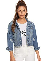 Women's Long Sleeve Basic Button Down Wash Denim Jean Jacket