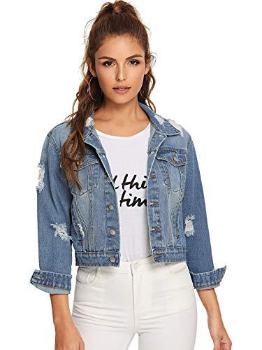Floerns Women's Long Sleeve Basic Button Down Wash Denim Jean Jacket Blue L ()