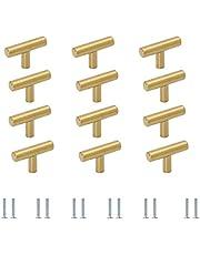 Meubelgrepen T-stanggreep meubelknoppen goud 12 stuks, commodeknop deurknop aluminiumlegering ladeknoppen voor kast keukenkast kledingkastdeur