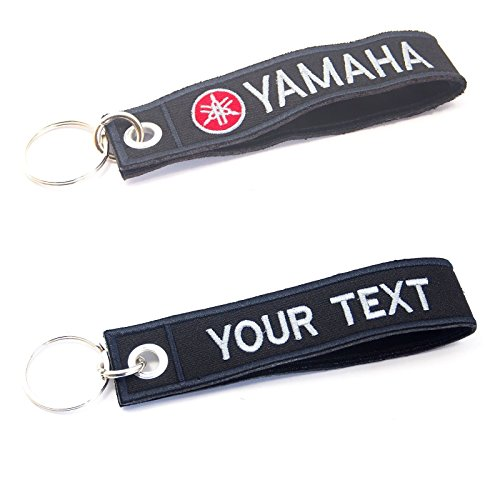 YAMAHA KEYCHAIN CUSTOM TEXT NAME MOTORCYCLE EMBROIDERED TAG KEY RING HOLDER