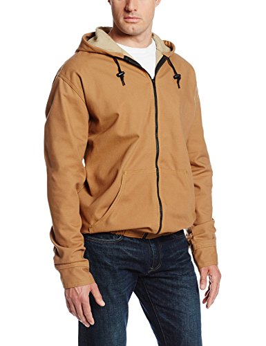 Bulwark Flame Resistant 11.5 oz Cotton/Nylon Excel FR ComforTouch Regular Brown Duck Hooded Jacket with Attached Three-Piece Hood with Drawstring and Toggles, Brown Duck, ()