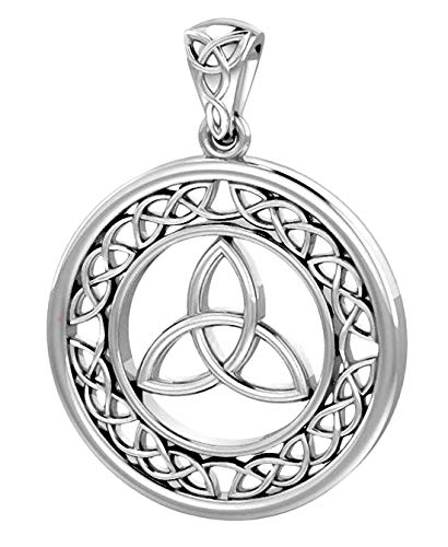US Jewels And Gems Round Sterling Silver Irish Celtic Trinity Love Knot Pendant