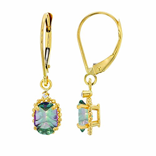 - 14K Yellow Gold 1.25mm Round White Topaz & 6x4mm Oval Mystic Green Topaz Bead Frame Drop Leverback Earring
