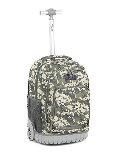 Camouflage Rolling Backpack - Tilami Rolling Backpack Armor Luggage School Travel Book Laptop 18 Inch Multifunction Wheeled Backpack for Kids and Students