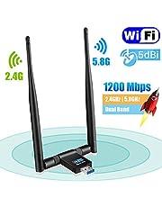 Maxesla Adaptador WiFi USB 1200 Mbps WiFi Dongle 5G/2.4G Dual Band Desmontable 5dBi Antena para PC/Escritorio/Laptop/Tablet Soporte Windows XP/Vista/2000/7/8/10, Mac OSX 10.6-10.14, Ubuntu Linux