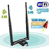 USB WiFi Adapter - Maxesla 1200Mbps WiFi Dongle 5G/2.4G Dual Band Detachable 5dBi