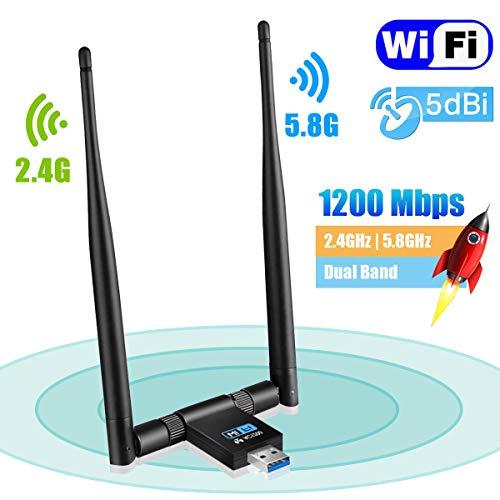 USB WiFi Adapter - Maxesla 1200Mbps WiFi Dongle 5G/2.4G Dual Band Detachable 5dBi Antenna for PC/Desktop/Laptop/Tablet Support Windows XP/Vista/2000/7/8/10, Mac OSX 10.6-10.14, Ubuntu Linux from Maxesla