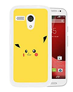 Unique And Fashionable Designed Cover Case For Motorola Moto G With Pokemon Popular Cute and Funny Pikachu 30 White Phone Case