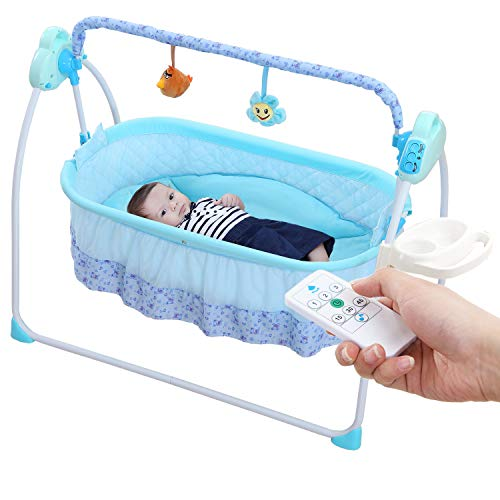 WBPINE Baby Cradle Swing, Automatic Baby Bassinets Swing Crib for Baby Boy and Girl with Music (Blue) (Baby Boy Cradle)