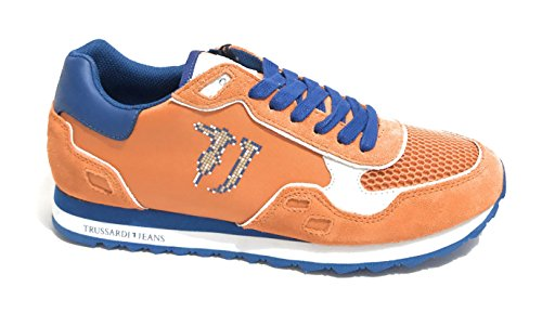 Trussardi Jeans Zapatos De Hombre Sneaker Running Fabric / Suede Leather Col. Naranja Us18tj02