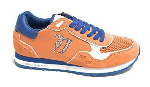 Trussardi Jeans Zapatillas de Piel Para Hombre Arancio