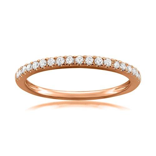 14k Rose Gold Round Diamond Micro Pave Bridal Wedding Band Ring (1/4 cttw, H I, VS2 SI1)