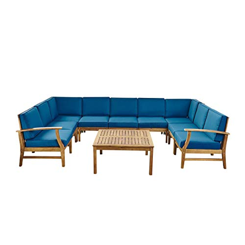 - Great Deal Furniture Judith Outdoor 9 Seater Acacia Wood Sectional Sofa Set with Cushions, Teak with Blue Cushions