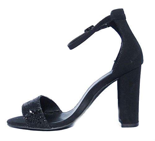 Mujer New Look Fiesta Peep Toe Zapatos Formales Negro