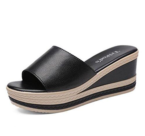 FAFZ Zapatilla femenina moda verano pendiente con sandalias zapatos zapatos salvaje sandalias de tacones altos y zapatillas Sandalias planas,Sandalias de moda (Color : A, Tamaño : 35) A