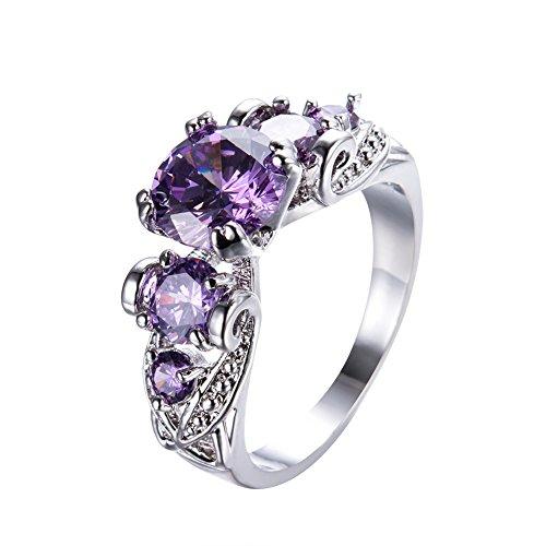 Dark Ring Purple - Adeser Jewelry Real 925 Sterling Silver Rings Women 5 Stone Rings Rose Gold Rings Women Engagement Rings Women Fashion Rings Women Band Rings Wedding Ring Diamond Rings(5-10) (Purple Stone, 7)