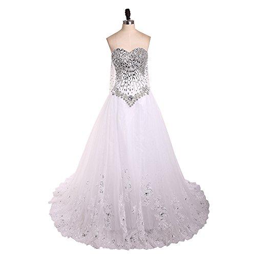leeveless Beaded Crystal Applique Watteau Train 2018 Luxury Lace Wedding Dresses Bridal Gowns Ivory-US4 (Watteau Train)
