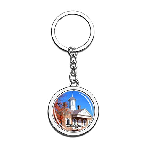 Keychain Colonial Williamsburg United States USA US Keychain Crystal Spinning Round Stainless Steel Keychains Souvenir Key Chain -