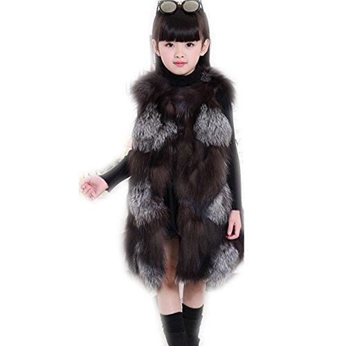 qmfur Real Silver Fox Fur Vest Girl's Winter Gielt Waistcoat Warm Jacket (above 16 years old) by qmfur