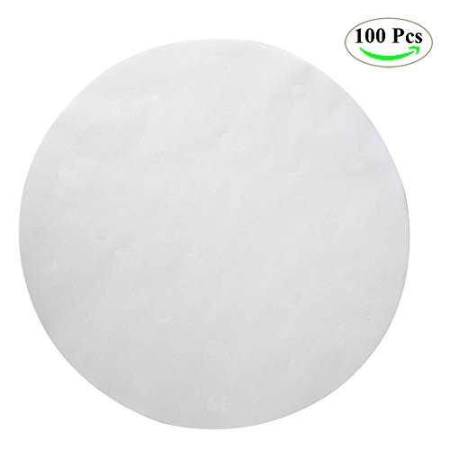 100 Pack Premium Imperforate Steamer Liners Paper, NUIBY 9 Inch Round Parchment Paper Baking Liner Sheets, Non-stick Baking Paper, Ideal for Air Fryers Cooking & Baking