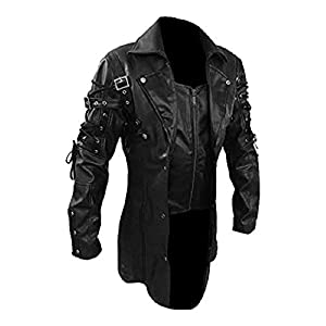 Mens Real Black Faux Leather Coat Goth Matrix Trench Coat Steampunk Gothic