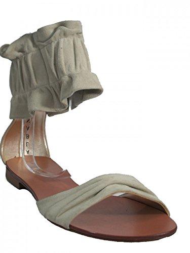 Albano 9919 Women Italian Ankle strap Leather Dressy Flat Sandals Beige Suede S3GRyoM8dM