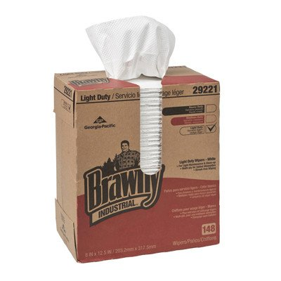 Light Duty Two Ply Paper Wipers in White by Brawny