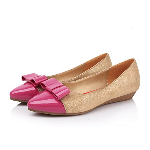 VogueZone009 Womens Closed Pointed Toe Low Heel Soft Material PU Assorted Colors Pumps with Bowknot Red 5kekY