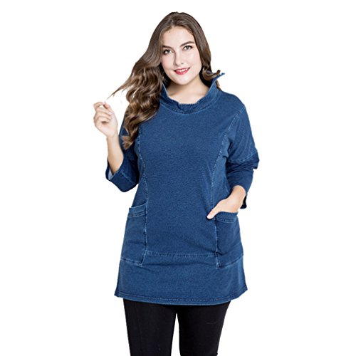 Azul Chaqueta Jacket Clásico Larga Azul Cuello Alto Mujer YAANCUN Manga Denim qxwv4BZZ0