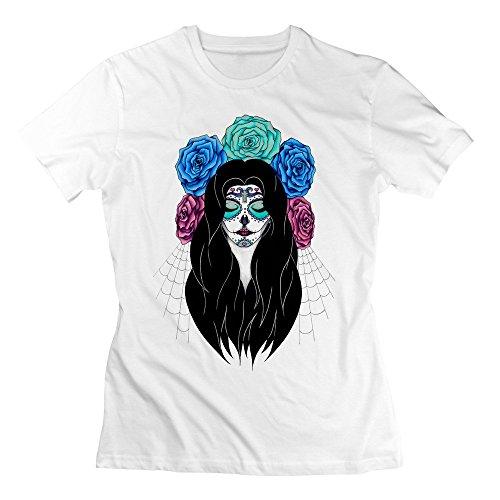 Spele Women Cotton Sugar Skull Halloween Funny 2016 100% Cotton Tshirt Short Sleeve White (Wilmington Halloween)