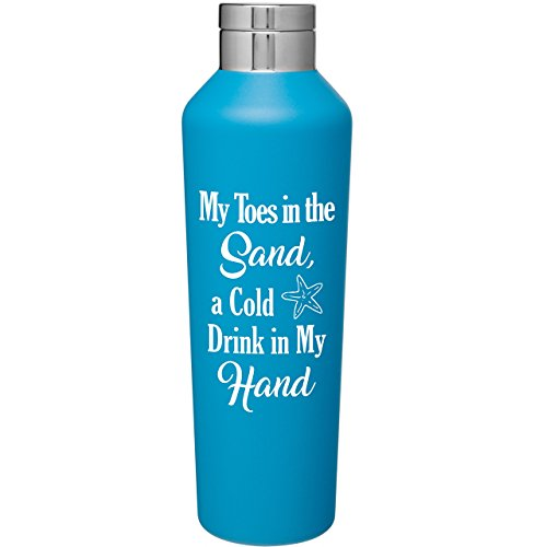 Stainless Steel 20.9 oz Manhattan Style Canteen with Lid   Double Wall Copper Vacuum Insulated   Hot or Cold Drinks   Water Bottle Travel Tumbler   Customized With Fun Novelty Saying (Matte Aqua Blue)