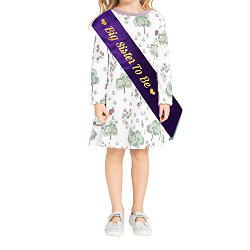 Blingbling Big Sister to be Sash, Purple Satin Violet with Gold Font with Heart, Best Baby Shower Decorations Gifts, Baby Boy Or Girl Neutral (Children's Style) ()