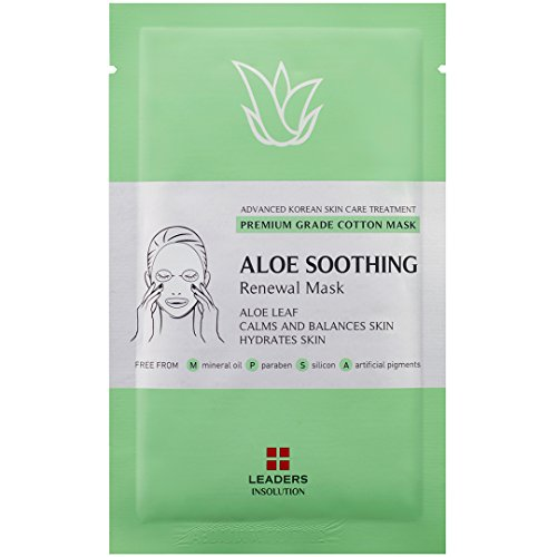 Leaders Aloe Soothing Medical Grade Treatment Face Mask Hydrating Acne Healing Premium Collection with Concentrated Serum Professional Remedy 10 Sheets -Momoko Story