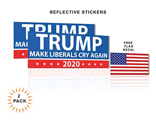 safetysignsdepot President Donald Trump 2020 Make Liberals Cry Again Reflective Bumper Stickers - 8in. x 3 in. for Cars and Trucks - Conservative Republican Decals (Best Liberal Bumper Stickers)