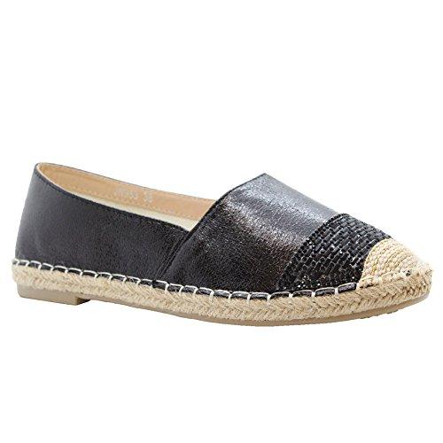 SAUTE STYLES Ladies Womens Flats Slip On Diamante Casual Sandals Espadrilles Pumps Shoes Size 3-8 Black vhhbB4JZu