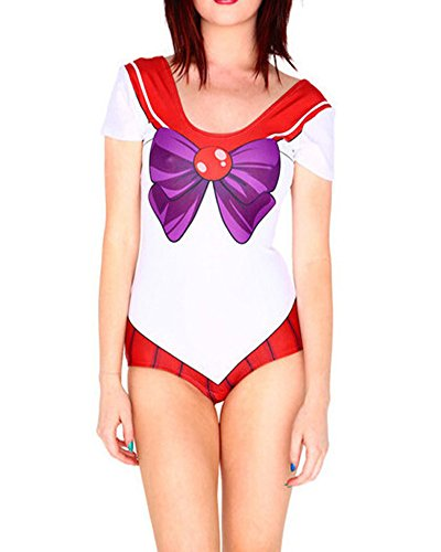 Fashion Queen Women Sexy Bikini Cartoon Swimsuit Sailor Moon Cosplay Bodysuit Costume (Medium, Red)