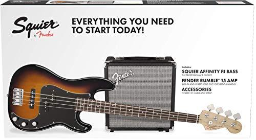 Squier by Fender PJ- Guitarra eléctrica de bajo con amplificador Rumble 15, acabado en negro, Paquete de bajo eléctrico,...