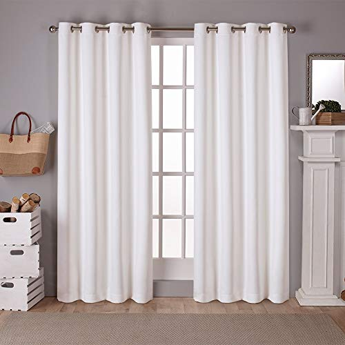 (Exclusive Home Sateen Twill Woven Blackout Grommet Top Curtain Panel Pair, Vanilla, 52x108)