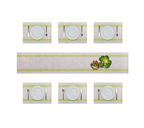 Lavin Placemats Vinyl Table Mat Woven Placemat Set of 6 Dining Kitchen Table Mat Non-Slip Heat-Resistant Stain Resistant Washable PVC 6pcs Placemats with 1 Table Runner(Green Yellow)