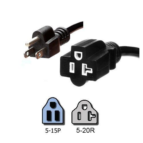 Nema 5 15p To 5 20r Plug Adapter 1 Foot 15a125v 14 Awg